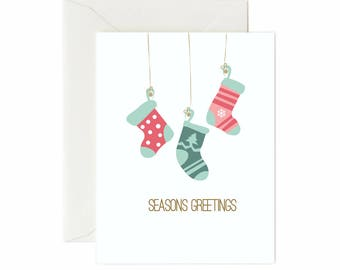 "Stockings ""Seasons Greetings"" Greeting Card"
