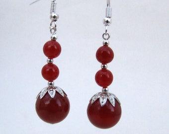 Carnelian Bead Earrings