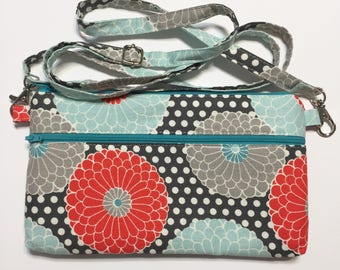 Floral Dot Cross Body Purse; Crossbody Purse; iPhone Purse; Cell Phone Purse; Phone Wallet; Sling Bag; Small Crossbody Bag; Crossbody Wallet