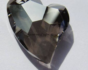 Swarovski CRYSTAL SATIN 6261 17mm Devoted 2 U Heart Pendant 1 Pc - Swarovski Crystal Elements Beads