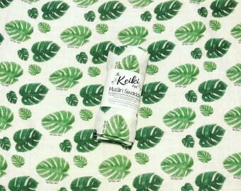 Bamboo Swaddle, Muslin Swaddle Blanket, Baby Blanket, Monstera Leaf