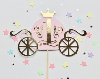 Princess cake topper, Princess themed cake topper, First birthday cake topper, 1st birthday, cake topper, pink and gold cake decorations