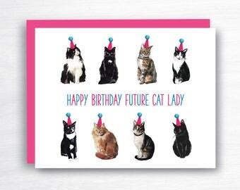 future cat lady card - cat birthday card - happy birthday future cat lady - cat lady card - funny birthday card - witty birthday card