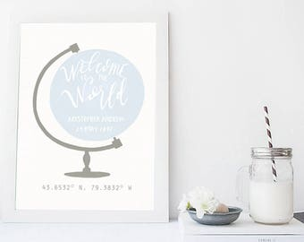 Personalized Nursery Birth Print - Boys Room Globe Print - Custom Globe Wall Art - Custom Nursery Art Print - Custom Coordinates Nursery Art