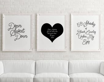 Pretty Dorm Art Prints, Printable Art, Black and White Dorm Decor, Dorm Decor, Dorm Wall Prints, Funny Dorm Prints, Set of 3 Dorm Prints