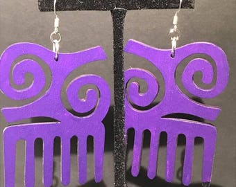 Purple Kwatakye Atiko Comb Earrings