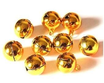 14 x 18 mm & 10 bells 12 x 15 mm Golden Bells charms