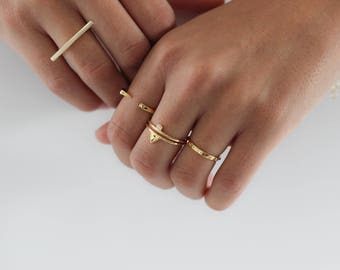 Gold plated double silver ring - Gold ring - Simple gold ring - Minimal jewelry - stacking ring - cubic zirconia ring - double ring cz