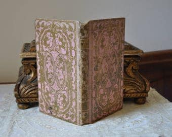 Antique French 1800s Rare Book, Pink 1800s Library Book, Vintage French Books Decor, Francophile Illustrated Gold gilt, Made in France