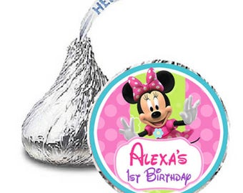 Minnie Mouse Bowtique Hershey Kisses Labels candy stickers - printable