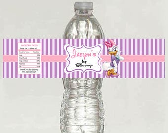 5 personalized Daisy duck Birthday Water bottle Labels