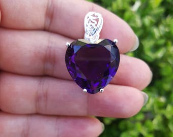 "Sterling Silver Amethyst Heart Pendant with 18"" Sterling Silver chain"