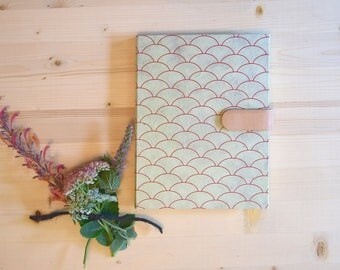 Journal Sketchbook Mint Green and Red Scale Pattern with Peach Rose Blush Leather Magnetic Strap Mermaid Fish