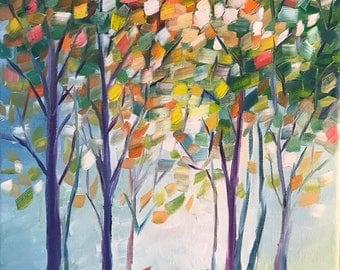 """Original Oil Painting Colorful Trees Autumn Landscape 8""""X10"""""""