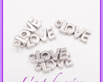 10 charms, charms, LOVE, silver, 22 x 8 mm