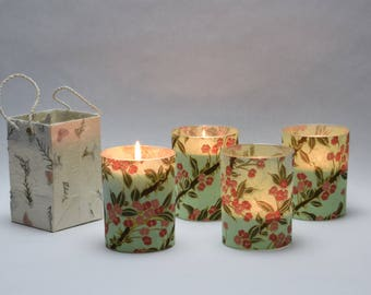 Floral on Jade Green Soy Luminary Candles - Case of 4