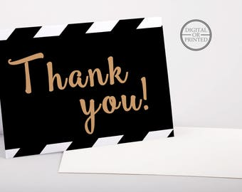 Black and Gold Thank You Cards | Black and White Baby Shower Thank You Card | Black and Gold Baby Shower Stationary | Printable |