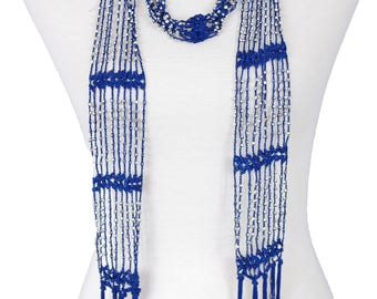 Beaded Knit Necklace Scarf with Fringe