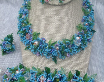Ukrainian jewelry. Forget me Not. Wonderful beaded set (necklace, bracelet , earrings (2 in 1)and ring)