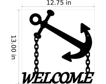 Anchor Welcome Metal Sign