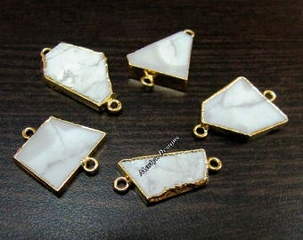SALE- Natural White Agate Slice Connector Free Form , Charm Pendant With 24 kt Gold Electroplated Edge , Double Loop 1 inches approximately.
