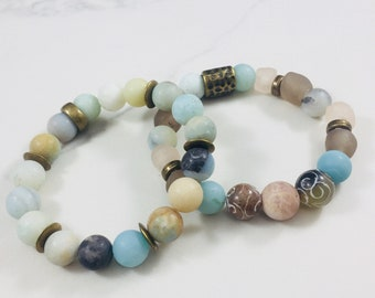 "Set of 2 ""Abigail"" amazonite and sea glass beaded bracelets • Fast and free shipping"