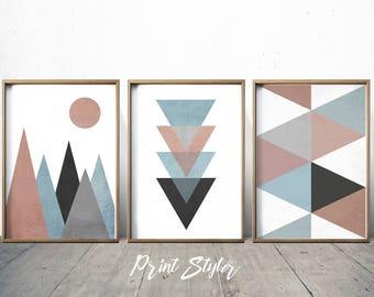 Wall Art Prints - Abstract Art Prints - Geometric Decor- Abstract Wall Art - Abstract Art Print - Nordic Art - Triangle Art