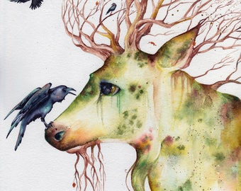 """Deer Crow Original Watercolor Painting """"It's Safe Here"""" 8x10 Raven Stag Nature Art"""