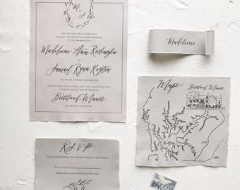 Fine Art Nautical Calligraphy Wedding Invitation on Handmade Deckled Edge Paper with Map