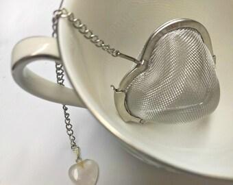 Heart Tea Infuser with Rose Quartz | Heart Shaped Tea Strainer |  Unique Teaball | Mesh Tea Steeper | Gift for Tea Lover | Cute Tea Infuser