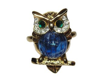 Kenneth Lane Jelly Belly Owl Ring with Rhinestone Eyes