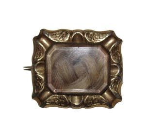Victorian 14 kt Rolled Gold Rectangular Mourning Blonde Hair Pin