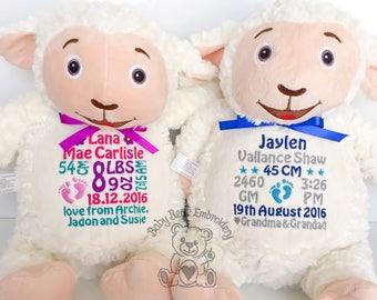personalised teddy bear, lamb
