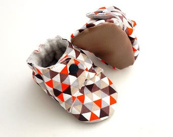 Slippers soft mixed cotton and fleece baby, Brown and orange tone, 6-9 months.
