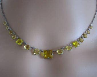 Vintage 30s Citrine Coloured Glass Art Deco Necklace, Gift, Friends, Lover,