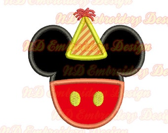 Mickey Pants Birthday Applique, Mr. Mouse Machine Embroidery Design,  ms-157