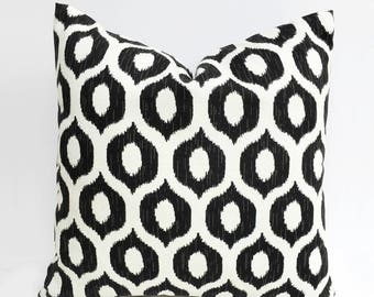 Black & White Indoor/Outdoor Pillow Cover - Ikat Geometric - 18 x 18