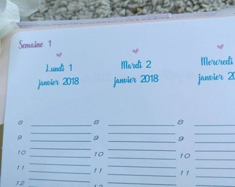 Refill 2018 ready to ship A5 week on 2 pages Wo2p French for your diary to rings!