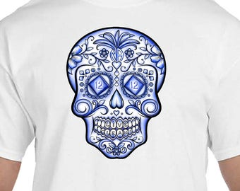 NA - Sugar Skull BLUE LIFE -  T-shirt - Color Options - S-5X - 100% cotton heat press t's   Free Shipping