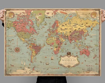 Old World Map Art. Mercator World Map  Poster Old Art map wall art Etsy