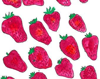 Strawberries, Original Framed Art