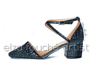 Black shoe fashion illustration