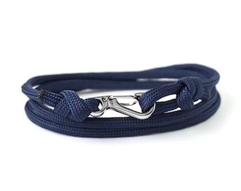 Carabiner Bracelet, Rope Bracelet, Navy Blue Bracelet, Mountain Climbing Jewellery, Adventure Jewellery, Silver Bracelet