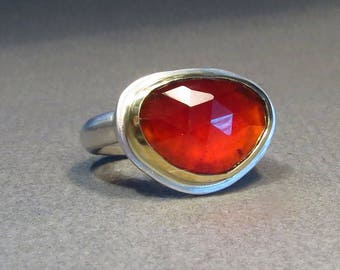 Hessonite (Garnet) Rosecut ring with 750 Yellow Gold version