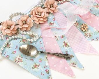 Tea party decor, birthday tea party, kids tea party, baby shower tea party, princess tea party, pink and blue banner, Nessa Foye