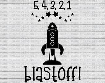 Spaceship Svg, Rocket Ship Svg, Blastoff Svg, Blast Off Svg, Countdown Until Takeoff, Space Svg, Space Shuttle Svg, Stars Svg, Cricut Svg