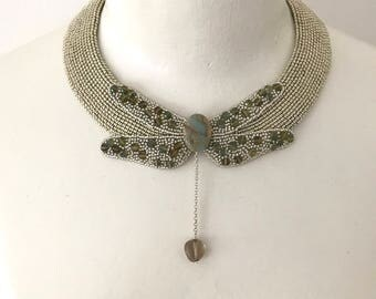 Dragonfly. Handmade, bead embroidered choker necklace.