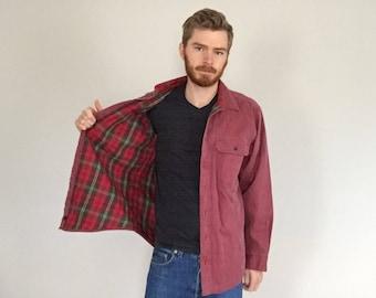 90s LL Bean Flannel Lined Chore Shirt size MEDIUM ~ 3552