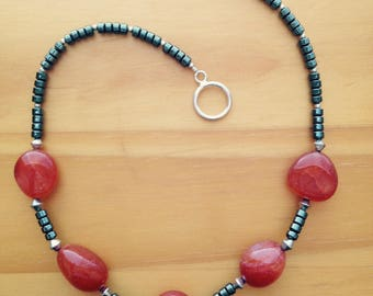 Carnelian and hematite necklace with sterling silver