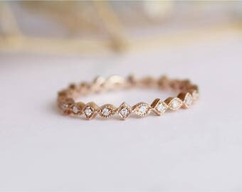Special Design Full Eternity Diamond Band 14K Rose Gold Diamond Wedding Band Engagement Band Matching Bing